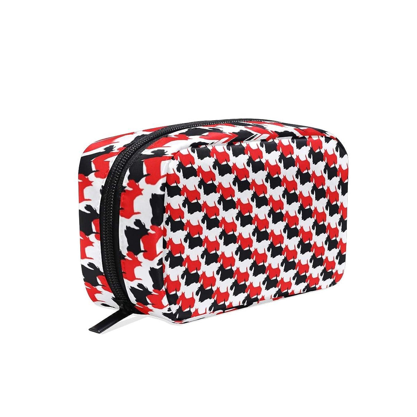 赤く黒いスコッチテリア犬パターン化粧ポーチ コスメポーチ メイクポーチ 使いやすい 機能的 小さめ コンパクト 化粧 ポーチ 便利グッズ キレイめ 小物入れ 旅行 トラベル