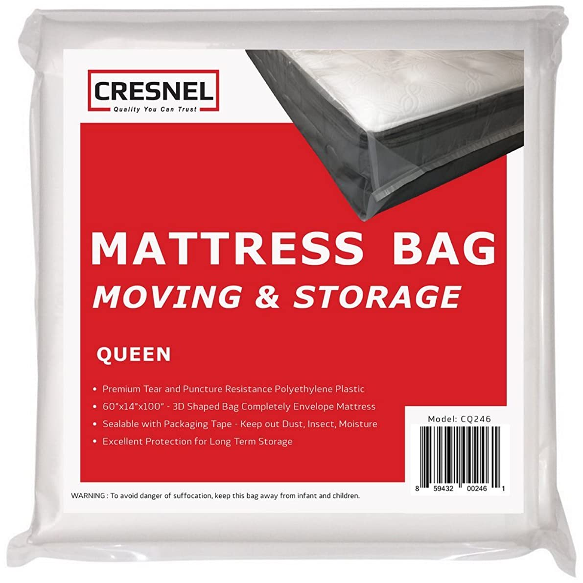 CRESNEL Mattress Bag for Moving & Long-Term Storage - Queen Size - Enhanced Mattress Protection with Super Thick Tear & Puncture Resistance Polyethylene
