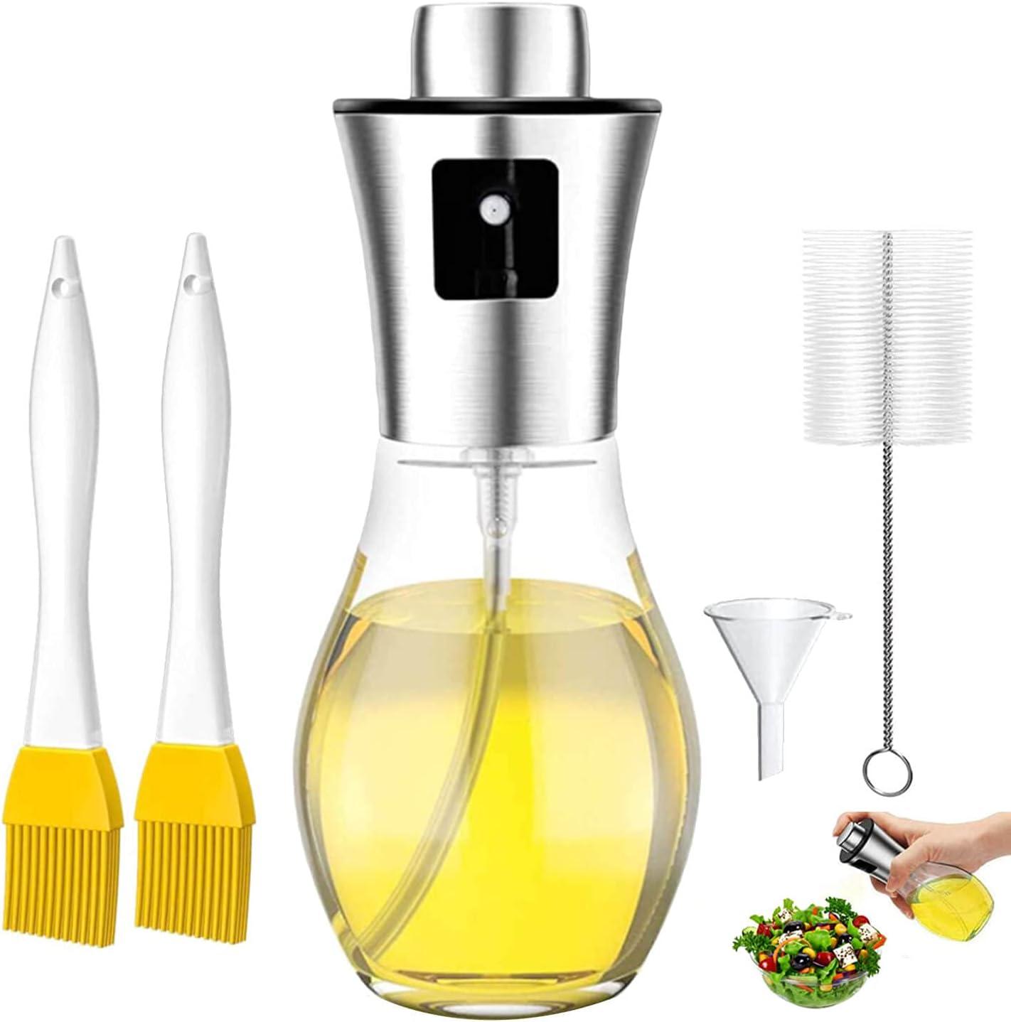 LiRiQi Rociador De Aceite para Cocinar, Dispensador de pulverizador de Aceite, Pulverizador Spray Oliva Aceite, Botella De Vinagre De Vidrio, para cocinar, Ensalada, Hornear, Pan, BBQ, Cocina (200ML)