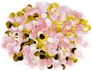 Andaz Press Tissue Paper Confetti 1-Inch Round Circles, Blush Pink, White, Gold In Bulk 5.3oz Pack, Elephant, Pretty in Pink, Mouse, Princess, Paris, Birthday Party Decor, Confetti Balloon Decorations