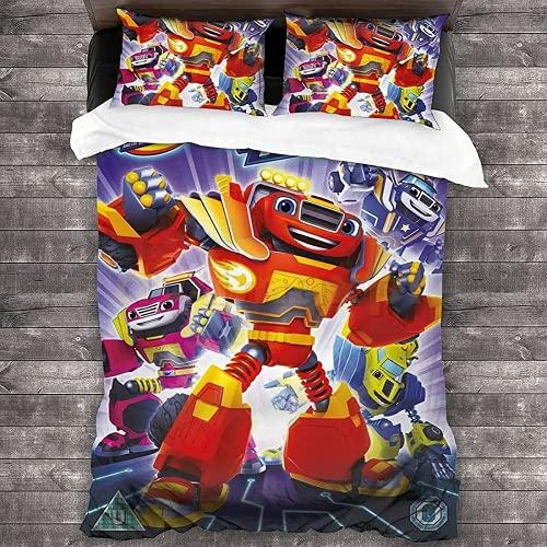 CPDMGS Blaze and The Monster Machines - Funda nórdica (impresión digital 3D, para niños (A02,220 x 240 cm + 80 x 80 cm)