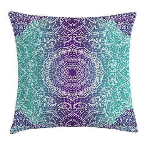 ABAKUHAUS Púrpura y Turquesa Funda para Almohadar, Mandala Degradé Hippie Paz Interior Meditación con Arte Ornamental, Lavable con Cremallera Colores Firmes Estampa Digital, 50 x 50 cm, Púrpura