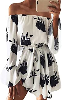 Clearance!Hot Sale!Women Dress Daoroka Sexy Off Shoulder Floral Print Long Flare Sleeve Casual Loose Evening Party Maxi Beach Mini Skirt With Belt (M, Black)