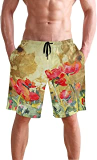 Mens Shorts Vintage Watercolored Floral Running Short Outdoor Pants for Boys