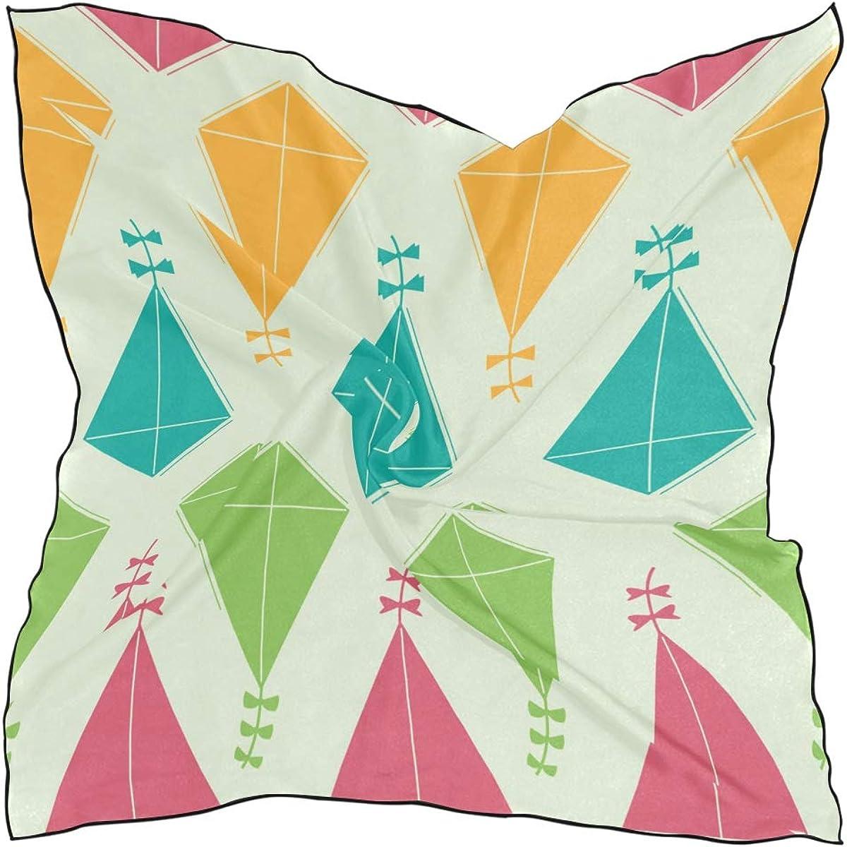 Women's Soft Polyester Silk Square Scarf Kite Game Toy Play Spring Children Fashion Print Head & Hair Scarf Neckerchief Accessory-23.6x23.6 Inch