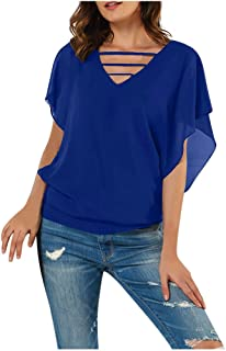 FELZ Camiseta para Mujer Camisa Mujer Gasa Blusa Sexy Manga Corta Cuello En V Fiesta Blusas Casual Color SóLido Pullover Tops