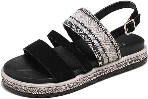 XAFXAH Sandales Femmes Plates,Sandales Femmes Femmes D'été Plat Noir Romain Chaussures Femmes Sandales Open Toe avec TempéraHommest