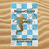 Asciugamano Telo Mare Lazio Biancocelesti con Nome Personalizzato idea regalo (100cm X 160cm)