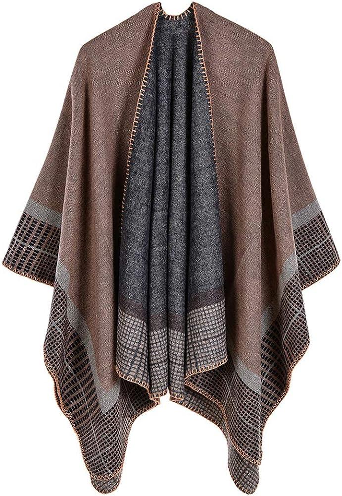Obosoyo Women Poncho Shawl Cardigan Contrast Color Open Front Elegant Cape Wrap Sweater Coat
