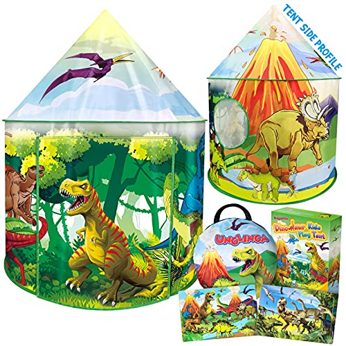 UNGLINGA Dinosaur Kids Play Tent Toys Gifts for Boys Girls Toddler 1 2 3 4 5 6+ Years Old Outdoor Indoor Pop Up Tent Instant Playhouse with 2 Puzzle House Backyard Birthday Party