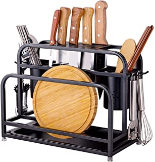 Dxbqm Étagère de Cuisine Organisateur de Rangement, Support de Rangement Porte-Couteau en Acier Inoxydable, Support de Ran...