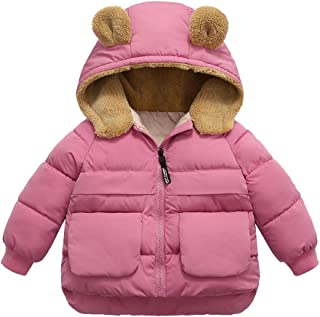 Winter Warm Coat Hooded Jacket Toddler Kid Boys Girl Cute Solid Zipper Thick Coat Outwear