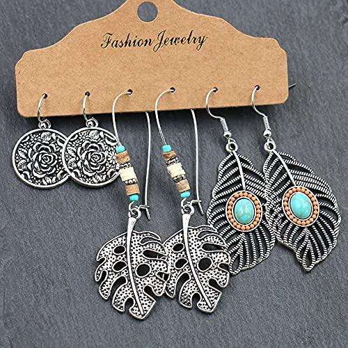 FEARRIN Pendientes largos de plata de color señoras pendientes de flor de la hoja conjunto largo borla verano pendientes Set1