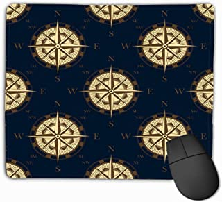 Mousepad Custom Design Gaming Mouse Pad Rubber Oblong Mouse Mat 11.81 X 9.84 Inch Golden Stylized Compass Rose Pattern Retro Style Dark Blue Background Luxury Wallpaper Adventure Design