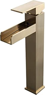 Homary Contemporary Single Handle Waterfall Bathroom Vessel Sink Faucet with Pop Up Drain Solid Brass Single Hole Bathroom Faucet in Brushed Gold Finish cUPC Certified