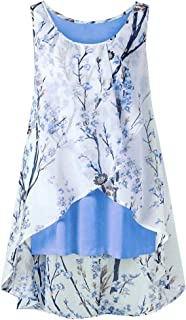 Dubocu Women Tank Top Crew Neck Sleeveless Floral Print Irregular Hem Summer Loose Casual BlouseTank T-Shirt Pullover