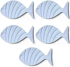 TRIXES 5PC Blue Fish Shaped Bath Mats for Kids – Non Slip Suction Pads