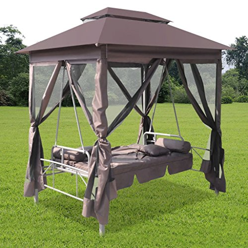 Tidyard 2-Person Gazebo Swing Chair Patio Daybed with Canopy, Mesh Walls with Corrosion-Resistant, Hook & Loop Fasteners Coffee