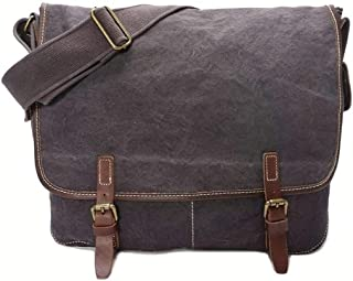 Sling Retro Canvas Crazy Horse Leather Unisex Messager Bag Large Capacity Multi-Function Travel Bag (Color : Gray)