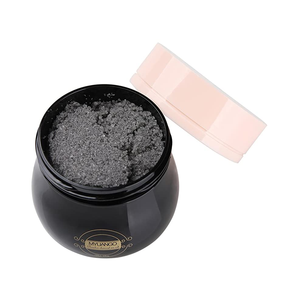 MYUANGO Natural Exfoliating Activated Charcoal Body & Face Scrub Deep Cleansing Pore Minimizer Anti Cellulite/Acne/Blackhead/Scars/Wrinkle Treatment