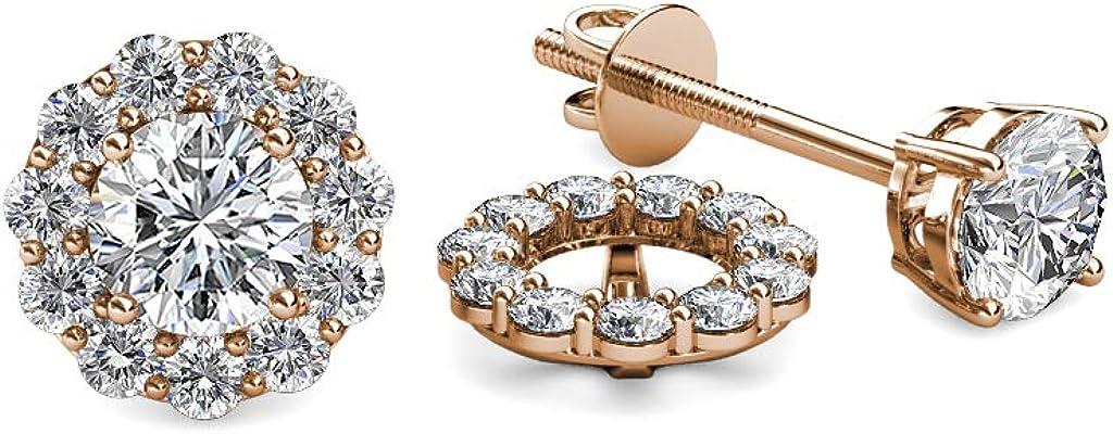 TriJewels Diamond 0.66 Carat tw Women Halo Jackets for Stud Earrings in 14K Rose Gold