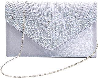 Tingtin Handtasche Abendtasche Damen Clutch Handtasche Bag Umhängetasche Kleine Schultertasche Damentaschen mit Satin Stra...