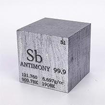 Cubo científico de Antomonio (Sb) de 25,4mm y 109 gramos. Presenta grabados datos del elemento químico