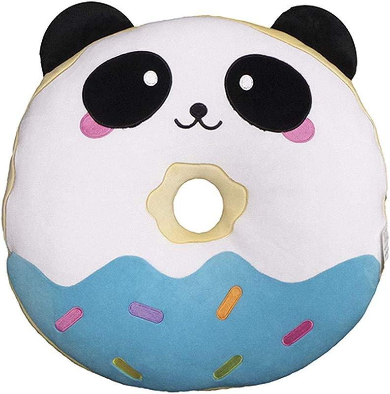 Iscream Vanilla Scented Kawaii Panda Donut Embroidered Accent 15 X 15 Fleece Pillow