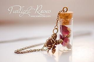 Collana di bottiglia di boccioli di Rose. Collana del fiore, collana del fiale, monili in terracotta miniatura, collana sv...