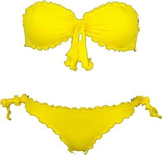Bikinicolors Bikini Donna a Fascia Arricciato con Slip o Brasiliana Made in Italy (L 46 con Bras M (Top 4° - Bras 42/44), ...