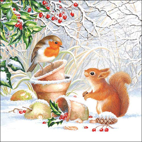 Papier Servietten Lunch Fest Party ca 33x33cm Herbst Autumn Weihnachten Winter Picture