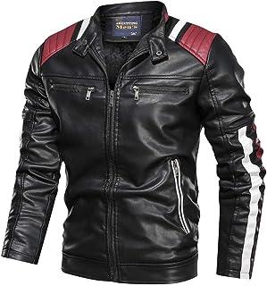 Leather Jackets for Men Baseball Coat Vintage Stand Collar Zip Motorcycle Biker Bomber Jacket