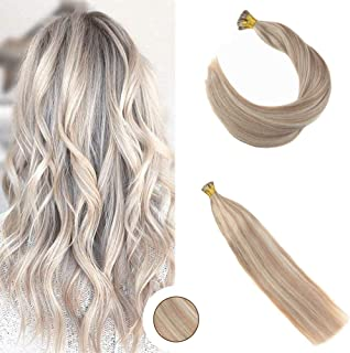 Ugeat 24Inch 40Gram Pre Bonded Hair Extensions Pinao Color Stick Fusion Hair Extensions #18 Ash Blonde With Bleached Blonde #613 Human Hair Extensions Stick I Tip Extensions