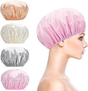 Titanker Shower Cap, 4-Pack EVA Shower Caps, Double Layer Waterproof Shower Cap for Women, Reusable Bathing Hair Caps for Adult, Medium Size (Gray, Pink, White, Glod)