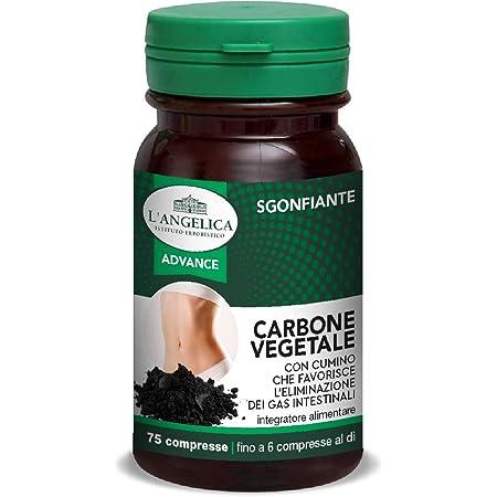 L'Angelica Integratore Alimentare Sgonfiante con Carbone Vegetale e Cumino, Combatte il Gonfiore Addominale e Favorisce la Digestione, senza Lattosio, 75 Compresse