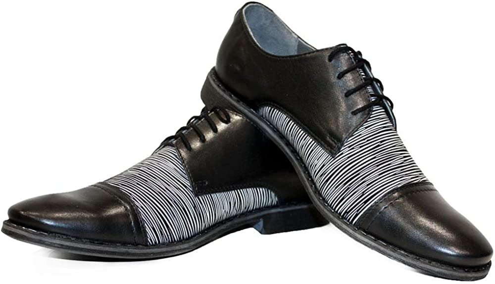 Modello Houre - Handmade Italian Mens Color Black Oxfords Dress Shoes - Cowhide Smooth Leather - Lace-Up
