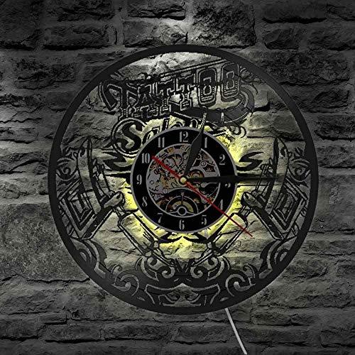 Reloj de pared con luz LED de 7 colores, para estudio de pared, tatuaje, sala de tatuaje, sala de estar, clcok, tatuaje, máquina de tatuaje, decoración de pared para hombres hipster idea de regalo