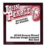 John Pearse Strings® 5225M Jeu de Cordes pour Irish Bouzouki - 80/20 Bronze Wound - Ball-End - 10 Cordes Simples - Medium Gauge Customs 13-44