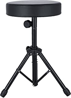Anfan Universal Drum Throne Adjustable Padded Drum Stool with Anti-Slip Feet for Adults and Kids (Black) (Black)