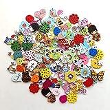 RYTECH Boutons animaux, boutons en bois, 100 boutons PCS artisanat avec 2 trous Boutons en bois de couleur mélangée Boutons pour enfants pour la couture Scrapbooking bricolage, décorations de peinture