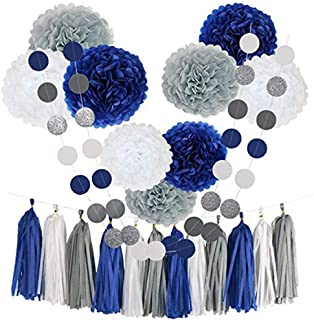 Hellokids Tissue Pom Poms Paper Flowers,9 pcs of 8, 10, 12 Inch,Tissue Paper Tassel Paper Decorations for First Birthday - Baby Shower - Wedding - Table and Wall Decorations (Navy, White, Grey)