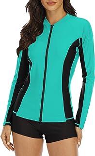 Halcurt Women's Rashguard Swimsuit Zip Front Long Sleeve UPF 50+ Sun Protection Swim Shirt