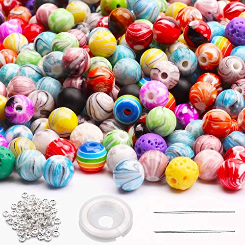 Feein 890pcs Acrylic Round Beads for Jewelry Making,8mm Loose Beads in Ink Patterns with Chakra Lava Beads Wood Beads Elastic String for DIY Crafts Bracelets Necklaces,Crafting Beads Supplies Kit