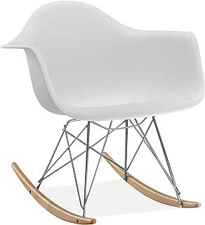 Rocking Chair – Inspired by Eames RAR Rocker – Molded Plastic Shell – Wood & Steel Eiffel Base – Mid Century Style (White)