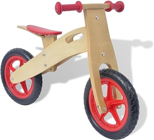 SENLUOWX Laufrad Holz Rot Kinderfahrzeug Kinderauto aus Holzgestell und Kunststoffrad und EVA-Reifen