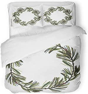 Emvency Bedding Duvet Cover Set Floral Wreath White Eastern Pine Branches and Cones Drawn Color Pencil Realistic Graphics Great for Placing Text 3 Piece Twin 68