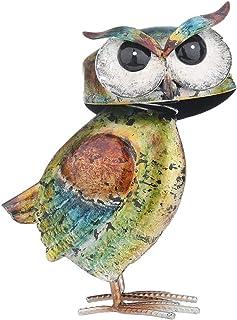 YARNOW Owl Iron Decoration Pebble Owl Statue Decorative Garden Gift Table Ornament Artistic Iron Owl Craft Adornment Home ...