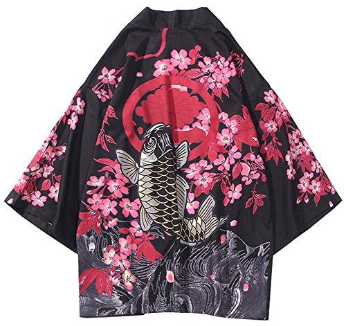 LifeHe Men's Kimono Japanese Floral Printed Kimono Cardigan Jackets Streetwear (Red, S)