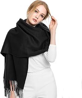 Cashmere Wool Scarf,Large Soft Women Men Scarves Winter Warm Shawl Gift (Black-01)