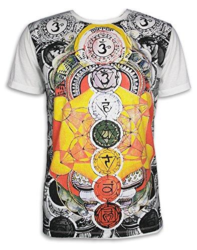 Mirror Herren T-Shirt - Die 7 Chakras Größe M L XL PSY Yoga Aura Chakren Esoterik Ethno Goa Trance (Weiss XL)